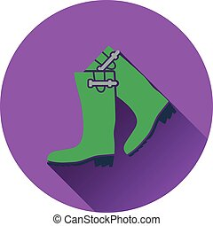 Icon of hunters rubber boots Flat design Vector illustration...