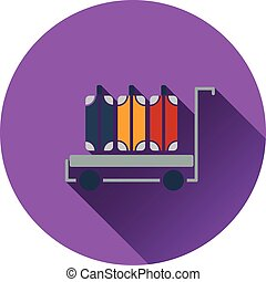 Luggage cart icon. Flat design. Vector illustration.