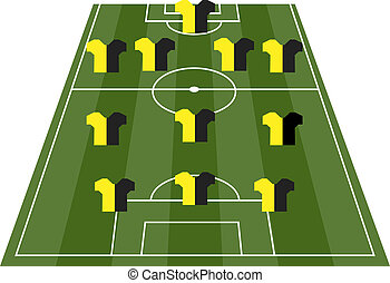 Football soccer field pitch with pl