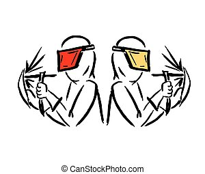 Welders, sketch for your design. Vector illustration