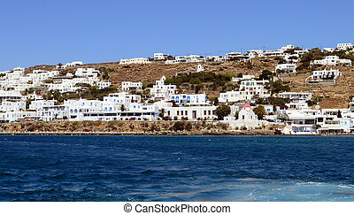 View of Mykonos island from the sea