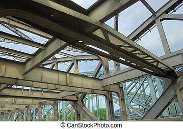 industrial age steel bridge - detail of an industrial age...