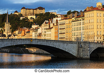 Bonaparte Bridge in Lyon. Lyon, Rhone-Alpes, France.