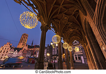 Grote Markt in Mechelen - Grote Markt and arches of city...
