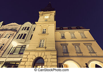 Old Rathaus in Ostrava at night Ostrava, Moravian-Silesian...
