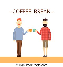 Casual Business Man Hold Cup Coffee Break Concept Flat...