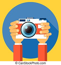 Hands Holding Photo Camera Photography Flat Design - Hands...
