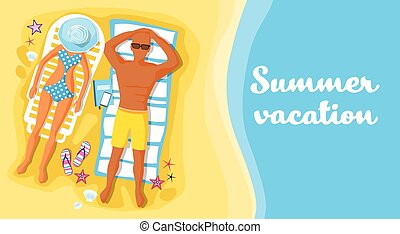 People Lying Beach Sand Sunbathing Summer Vacation Flat...