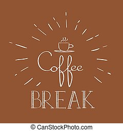 Coffee Break Banner Refreshment Poster Flat Vector...