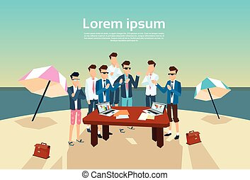 Business People Group Office Desk Working Beach Summer