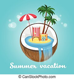Coconut Tropical Island Summer Beach Vacation Concept Flat...