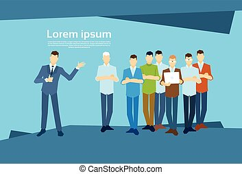 Business Man Leader With Businesspeople Group Flat Vector...