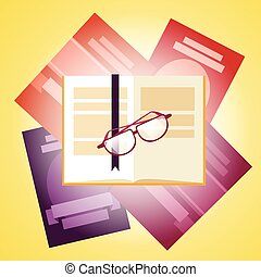 Books Stack With Glasses Icon
