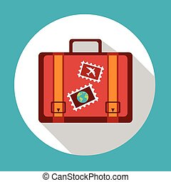 Suitcase Icon Logo Stickers Summer Trip Vacation Luggage