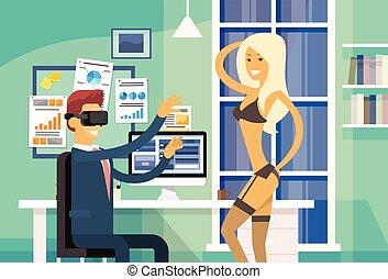 Business Man Sit In Office Wear Virtual Reality Digital...
