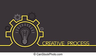 Light Bulb New Idea Brainstorming Concept Cogwheel Banner...