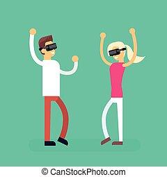 Man Woman Coupe Wear Virtual Reality Digital Glasses Headset...