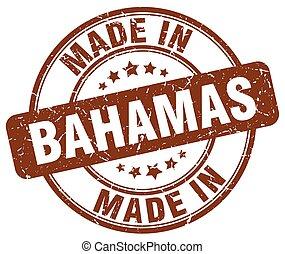 made in Bahamas brown grunge round stamp