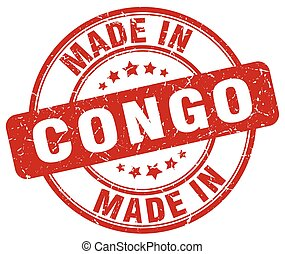 made in Congo red grunge round stamp