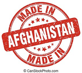 made in Afghanistan red grunge round stamp
