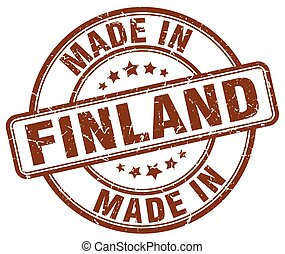 made in Finland brown grunge round stamp