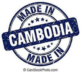 made in Cambodia blue grunge round stamp