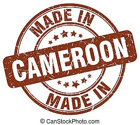 made in Cameroon brown grunge round stamp