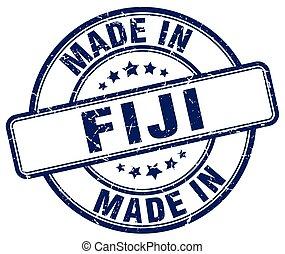 made in Fiji blue grunge round stamp
