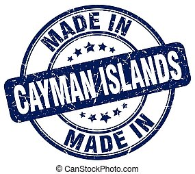 made in Cayman Islands blue grunge round stamp