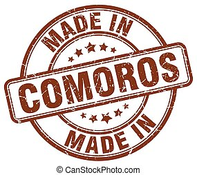 made in Comoros brown grunge round stamp