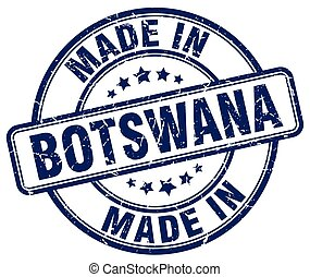 made in Botswana blue grunge round stamp