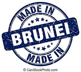 made in Brunei blue grunge round stamp