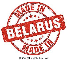made in Belarus red grunge round stamp