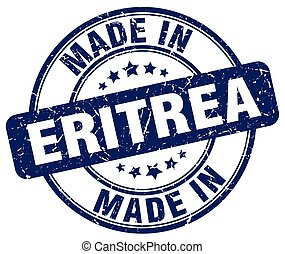 made in Eritrea blue grunge round stamp
