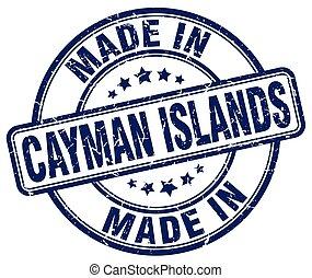 made in Cayman Islands blue grunge round stamp