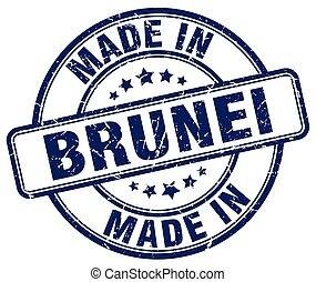 made in Brunei blue grunge round stamp