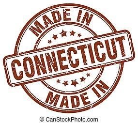 made in Connecticut brown grunge round stamp