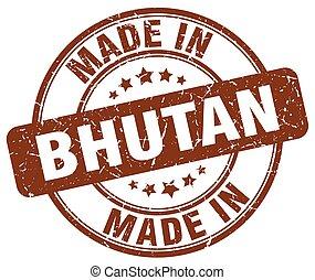 made in Bhutan brown grunge round stamp