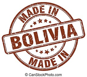 made in Bolivia brown grunge round stamp