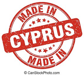 made in Cyprus red grunge round stamp