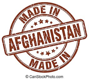 made in Afghanistan brown grunge round stamp