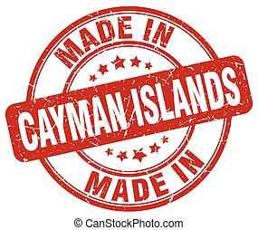 made in Cayman Islands red grunge round stamp