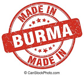 made in Burma red grunge round stamp