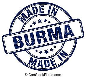 made in Burma blue grunge round stamp