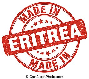 made in Eritrea red grunge round stamp