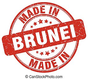 made in Brunei red grunge round stamp