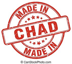 made in Chad red grunge round stamp