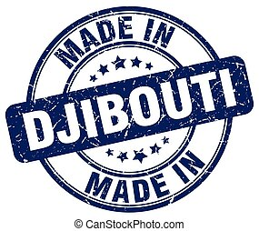 made in Djibouti blue grunge round stamp