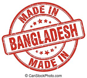 made in Bangladesh red grunge round stamp