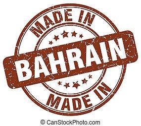made in Bahrain brown grunge round stamp